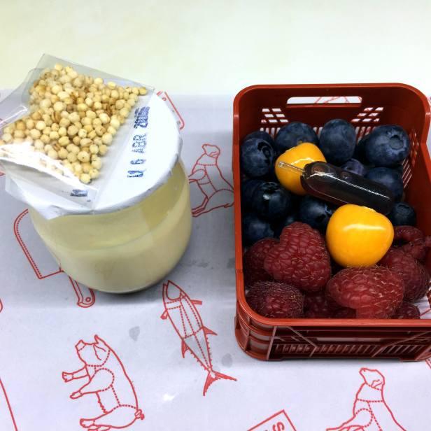 Dessert: dulce de leche and a basket of berries